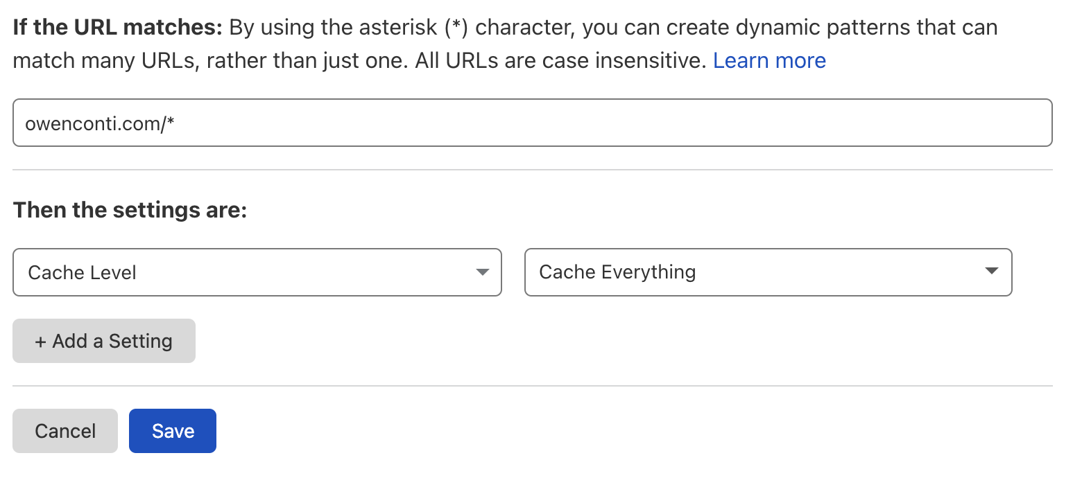 Cloudflare page rule to cache everything
